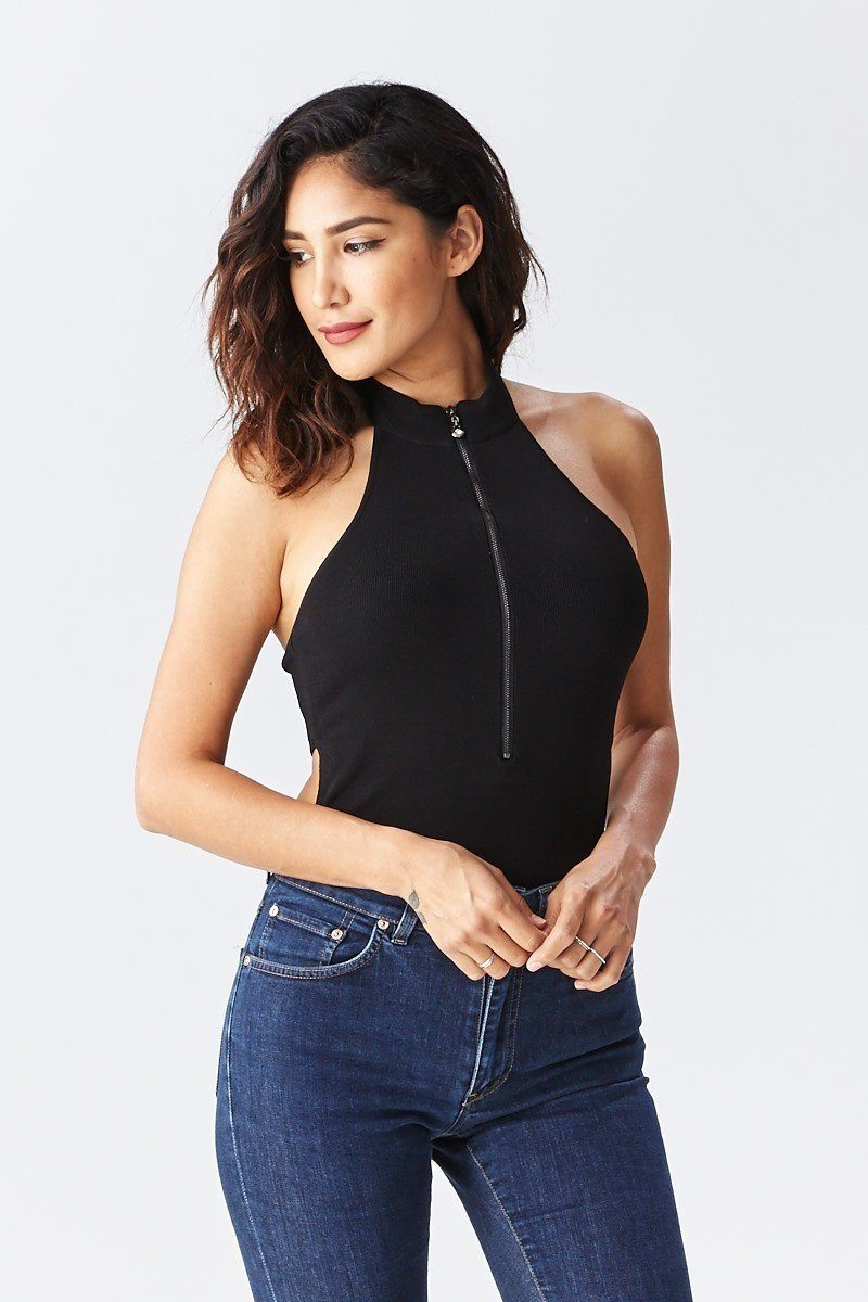 Solid Choker Neck Zipper Front Bodysuit