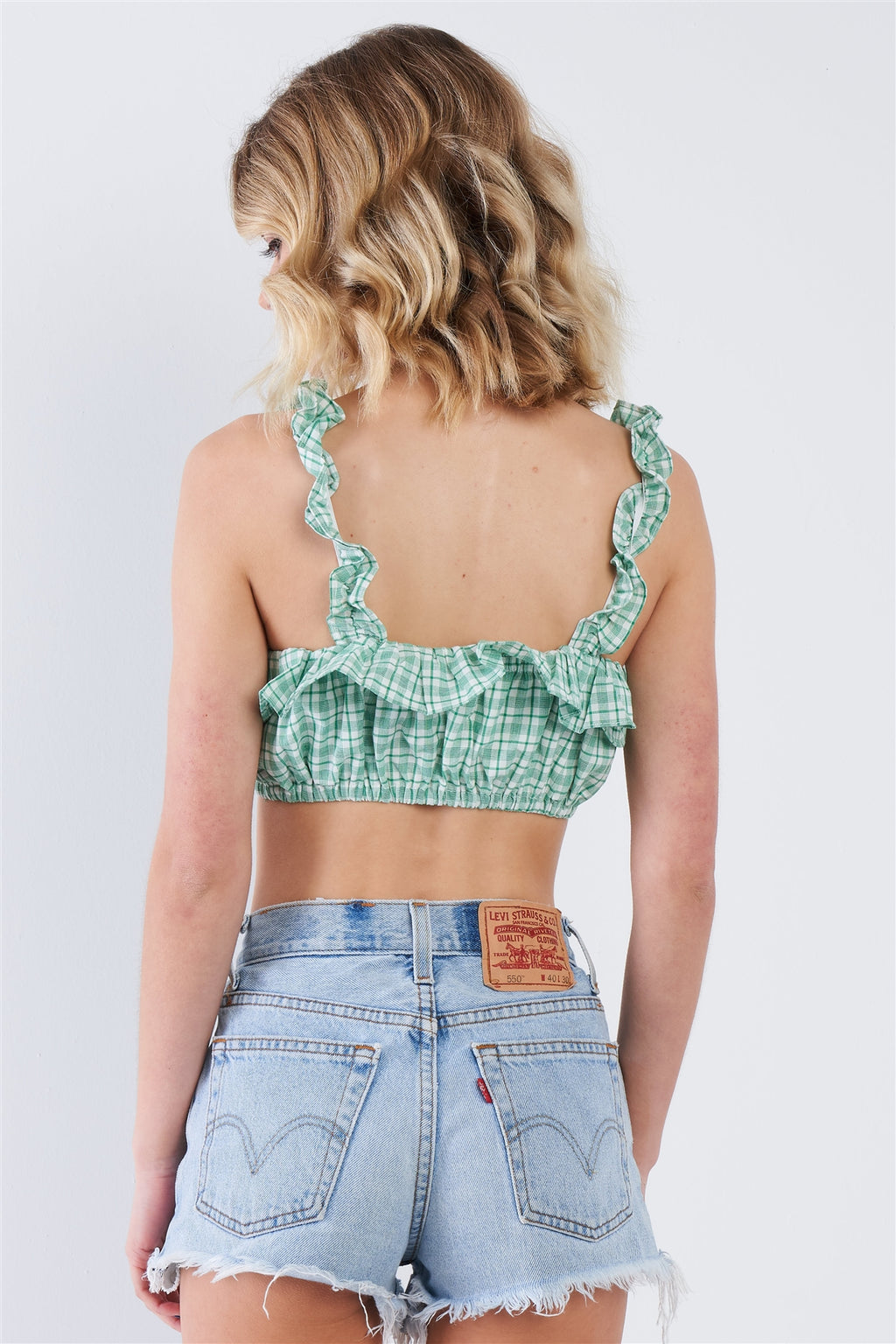 Cotton Multi Stripe Frill Trim Crop Top