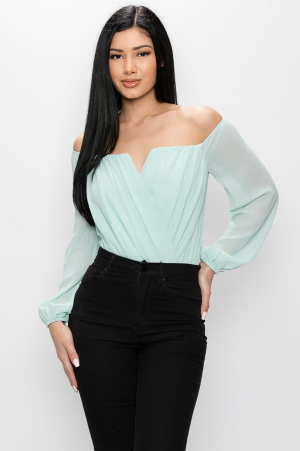 V-cut Front Off Shoulder Bodysuit