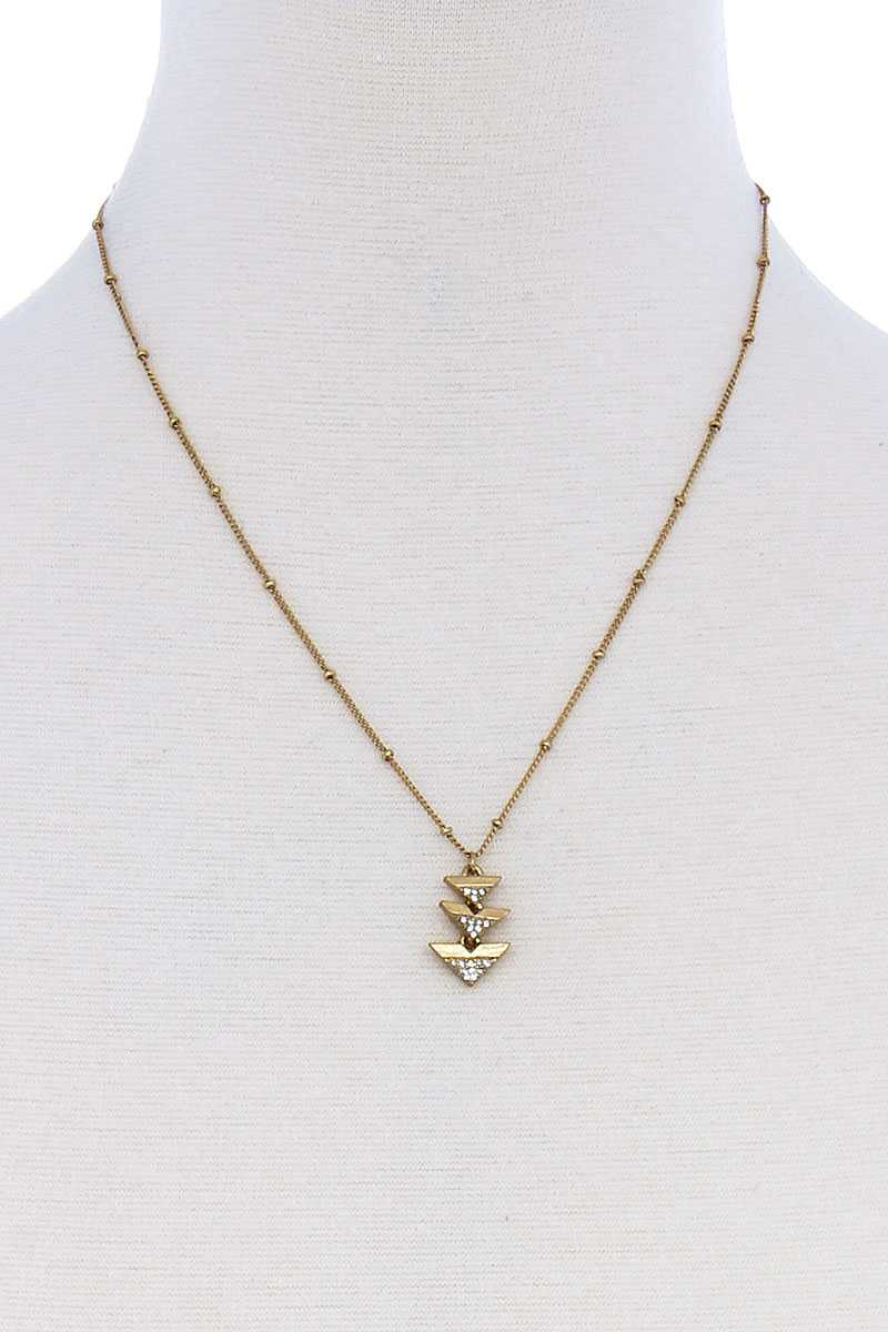 Cute Triple Triangle Pendant Necklace