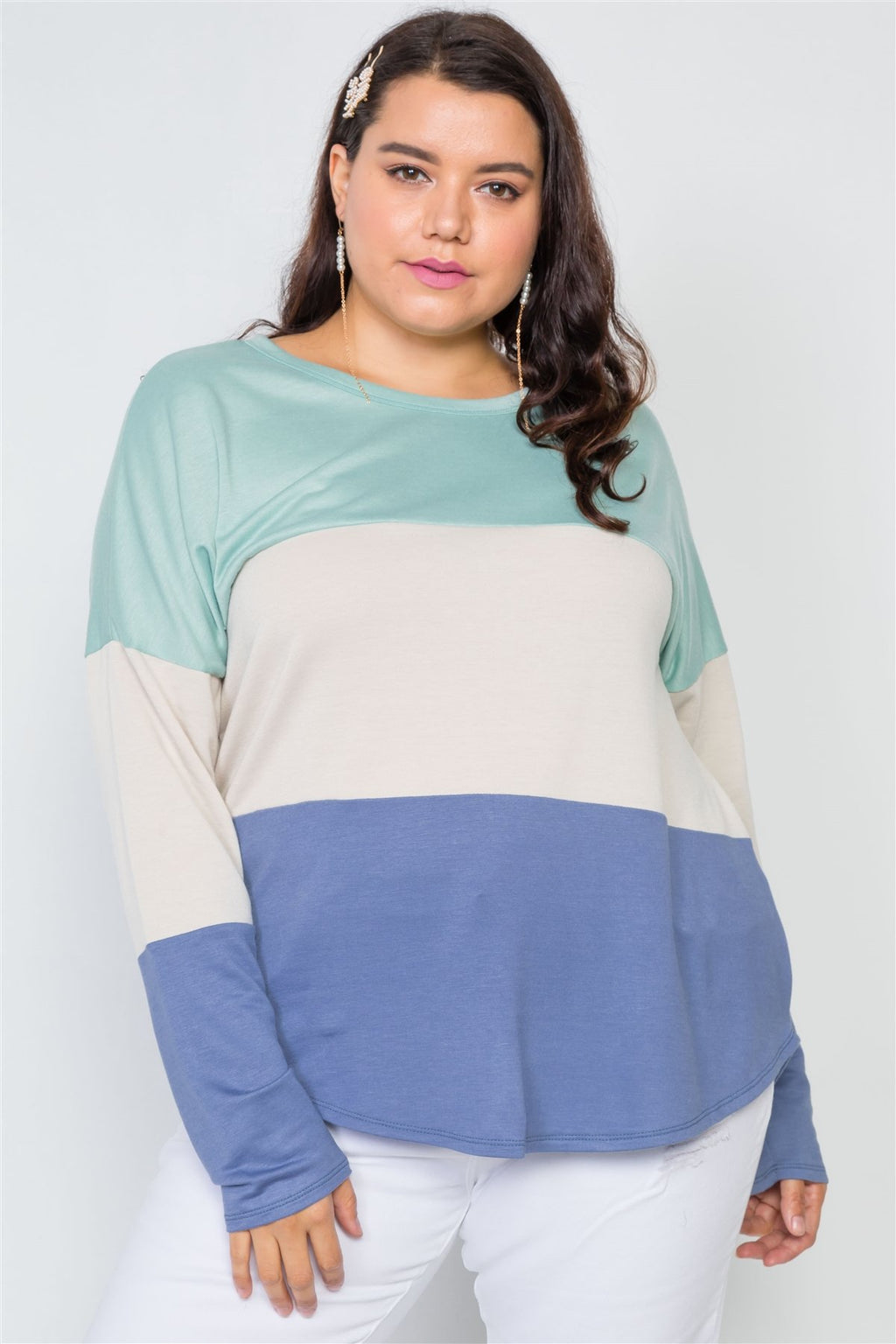 Plus Size Colorblock Soft Knit Top