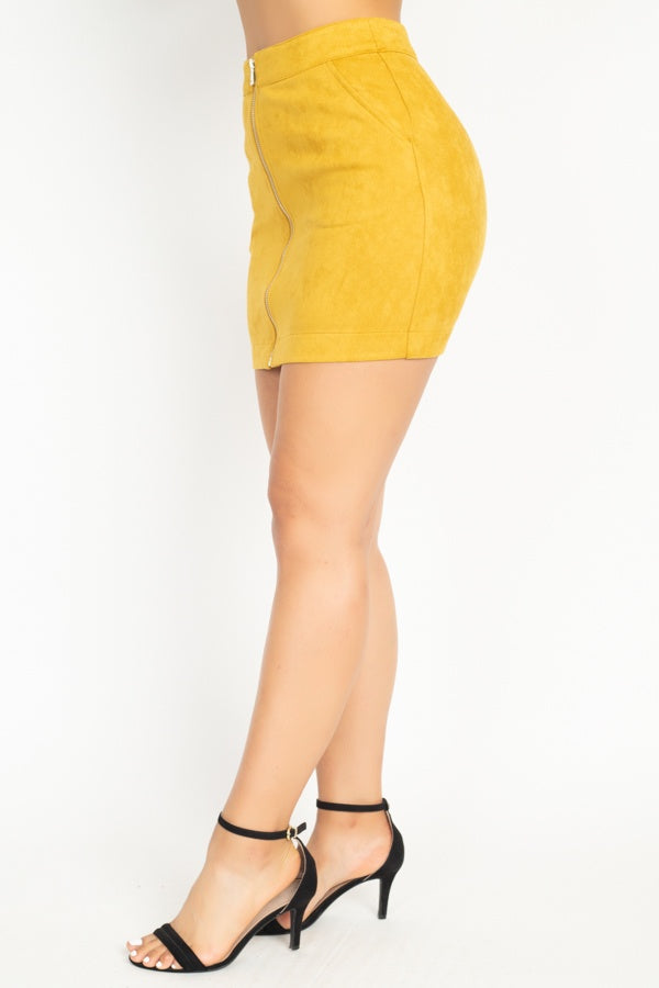 Faux Suede Front Zip Skirt