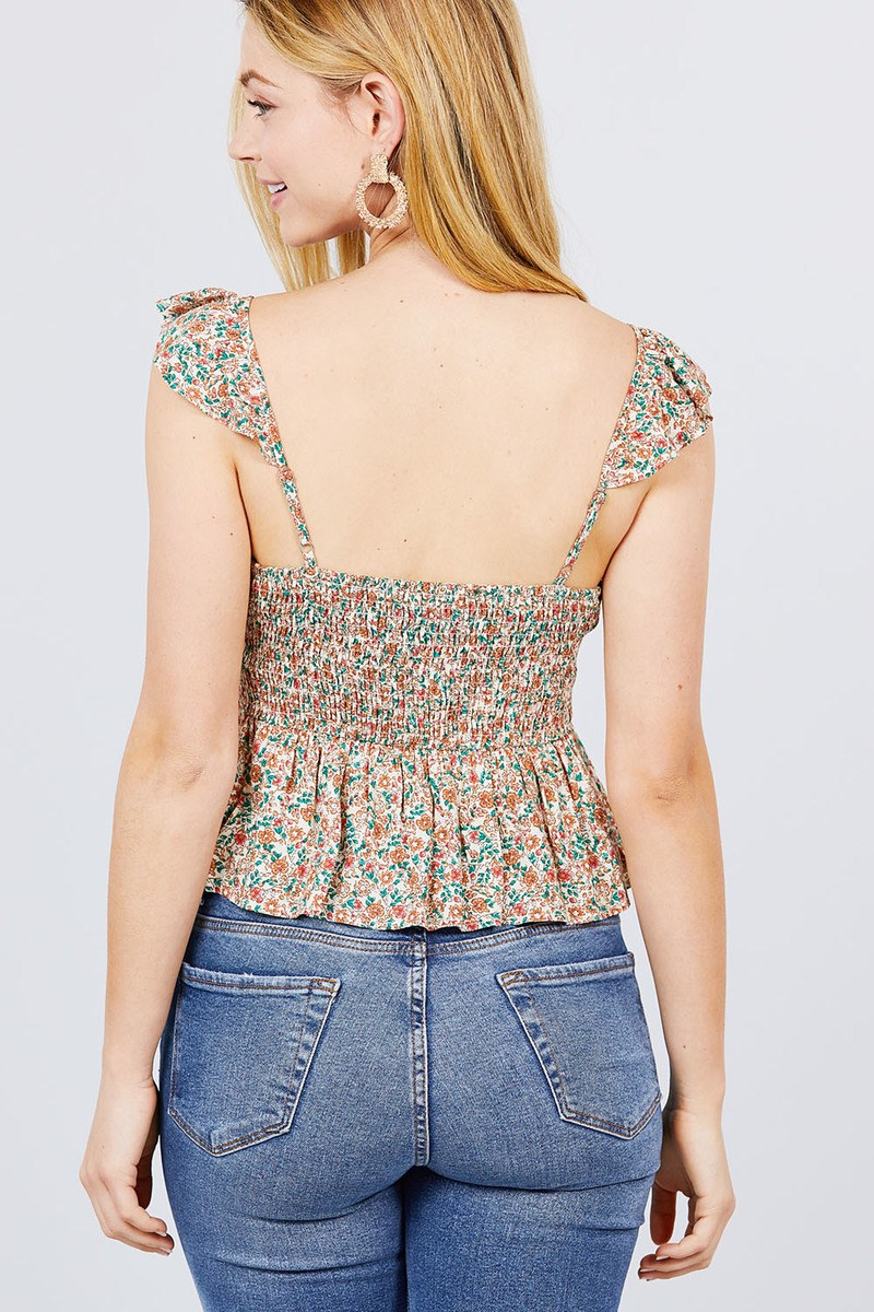 Cami Ruffle Strap W/back Smocked Print Woven Top