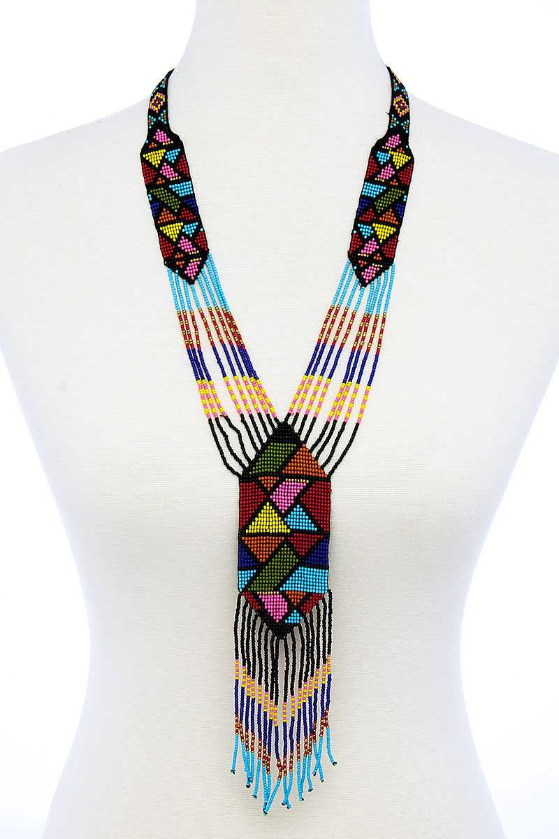 Trendy Ancient Pattern Beaded Long Necklace