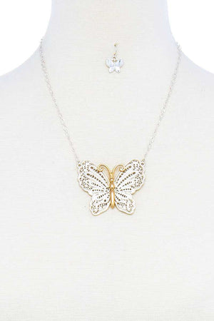 Fashion Stylish Butterfly Pendant Necklace And Earring Set