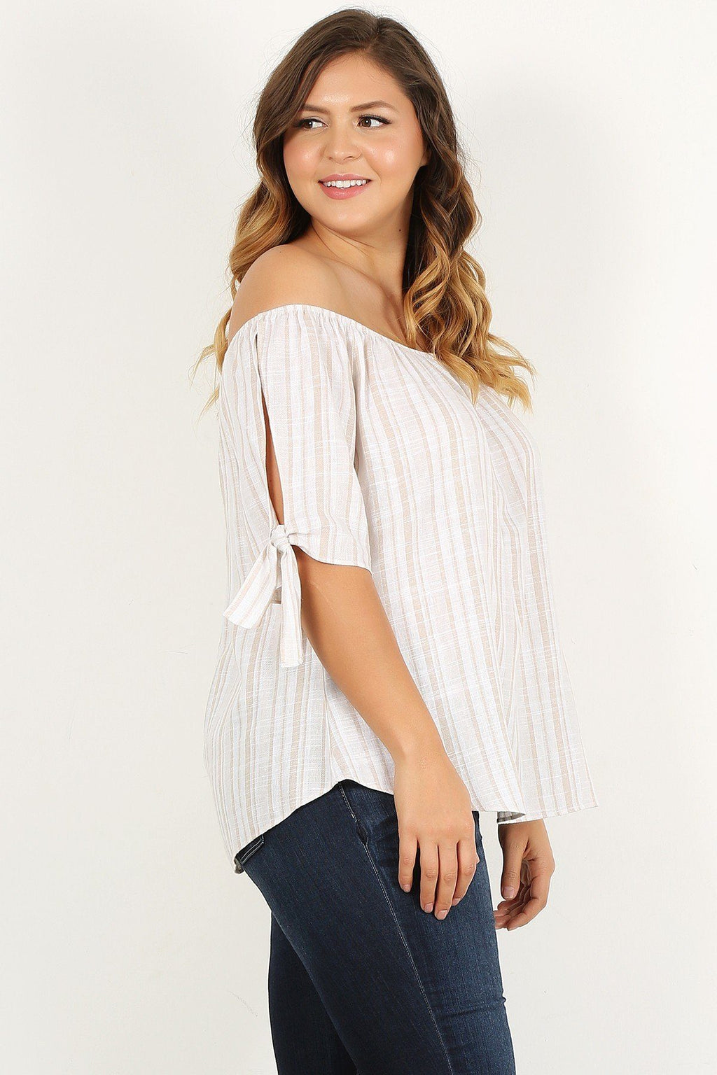 Plus Size Striped, Woven, Off-the-shoulder Top