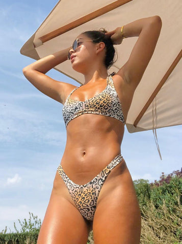 Betheney Leopard Print Bikini Top