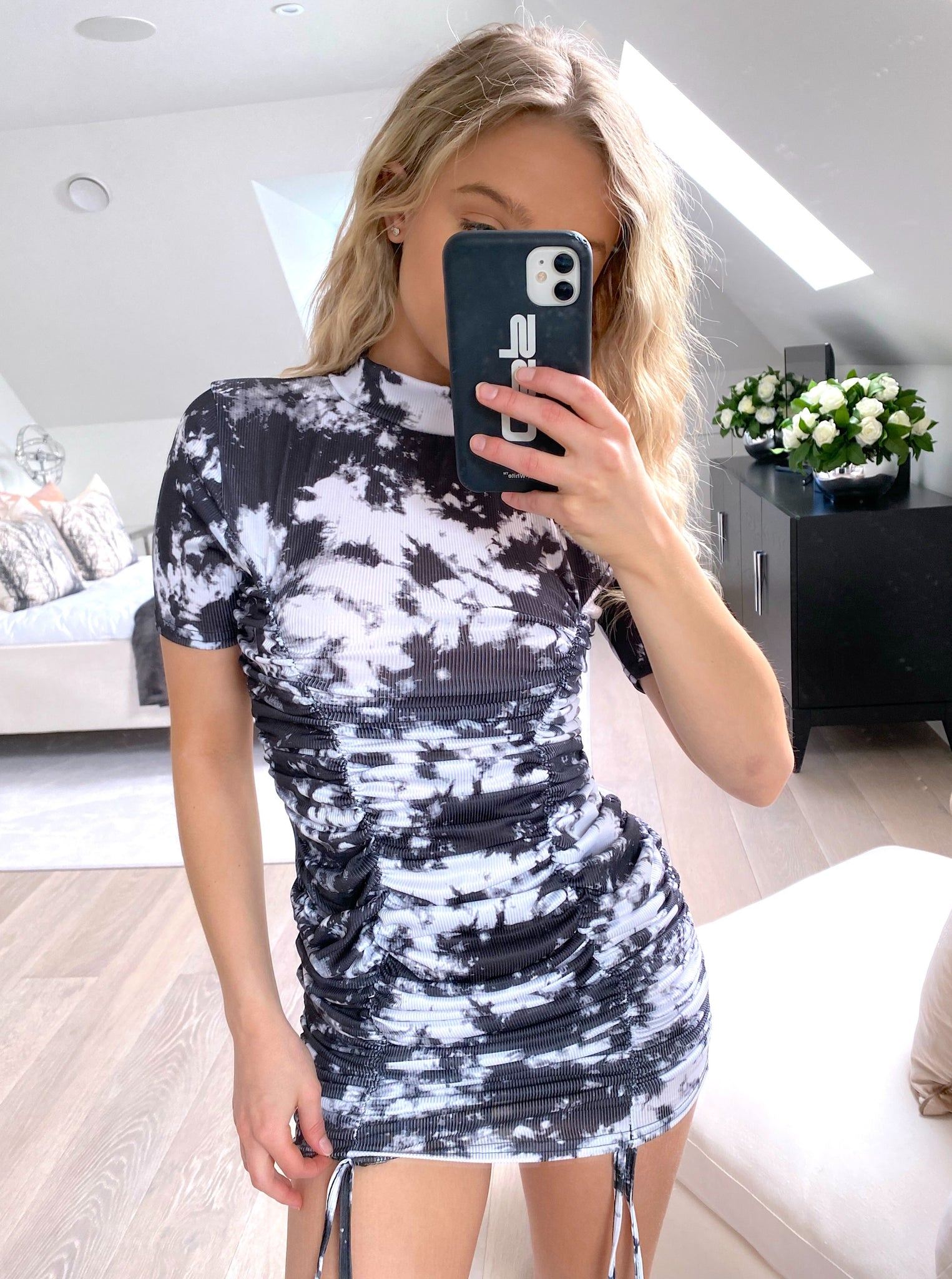 Fiya Ruched Dress in Black and White Tie Dye