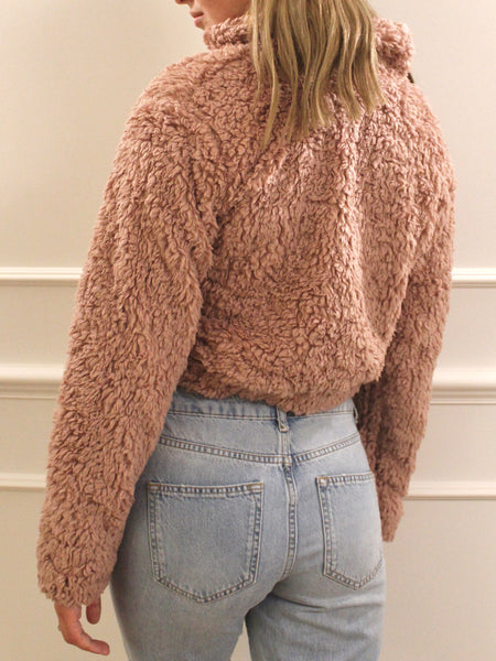 Teddy Cropped Zip Up Sweater