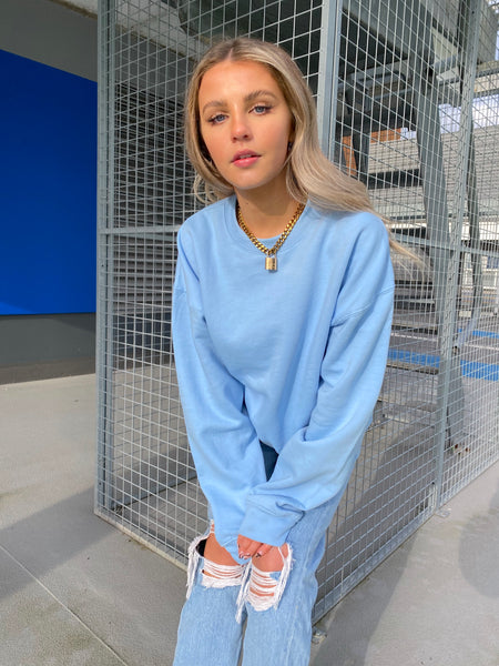 Kenzie Oversized Sweater in Baby Blue