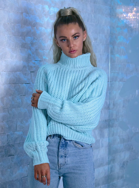 Amber High Neck Knit Jumper in Blue