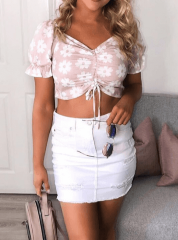 Daisy Ruched Detail Crop Top in Dusty Pink