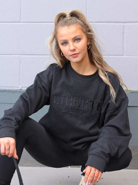 Eden Embroidered Sweater in Black