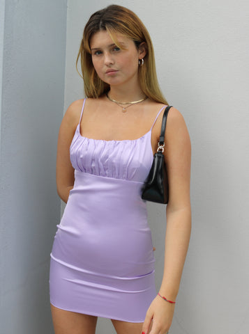 Eli Satin Dress with Ruche Detail in Lilac