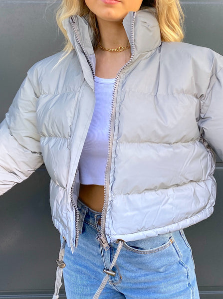 Amethyst Cropped Reflective Puffer Jacket in Grey