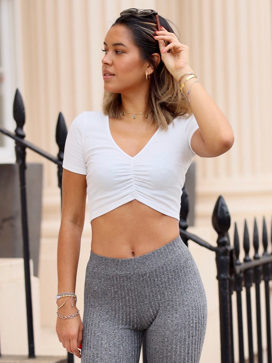 Anais White Ruched Crop Top