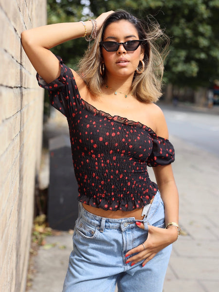 Bea Puff Sleeve Top in Red and Black Ditsy Floral