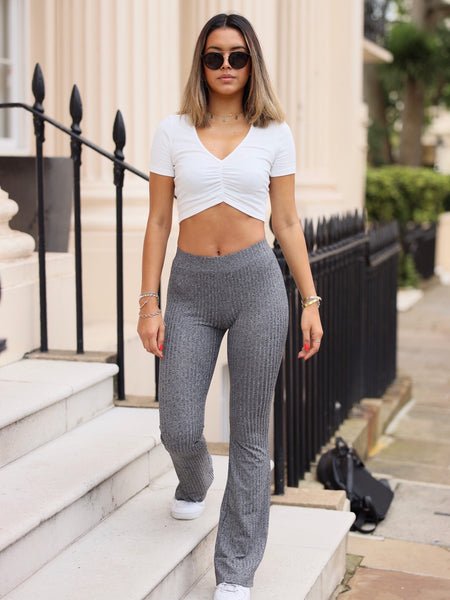 Moda Ribbed Flares in Grey Marl