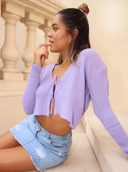 Andi Tie Up Crop Cardigan in Lilac