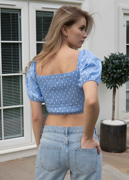 Tiffany Polka Dot Puff Sleeve Crop Top