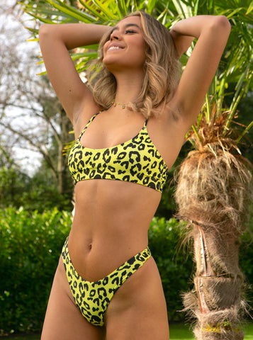 Amazon Neon Yellow Leopard Print Bikini Top