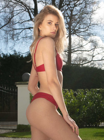 Poppy Burgundy Thong Bikini Bottoms
