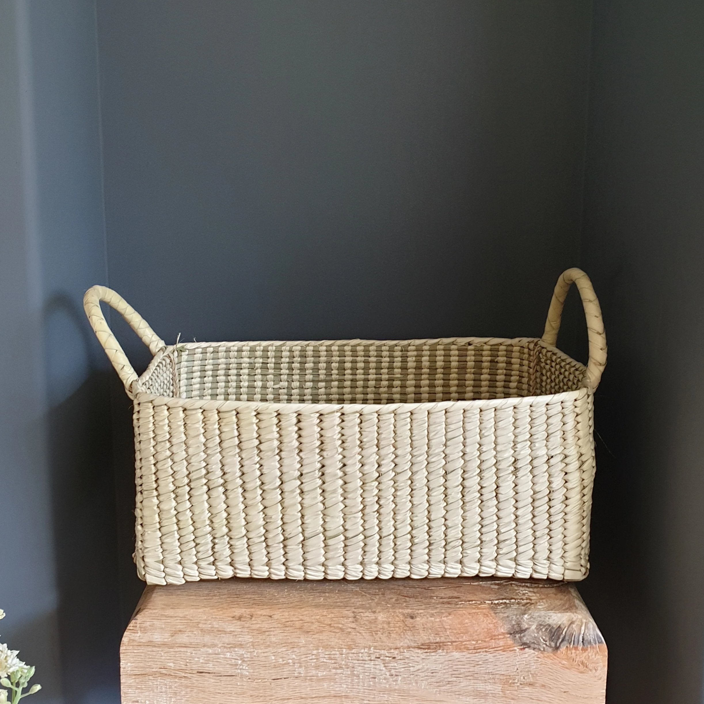 palm leaf basket with handles