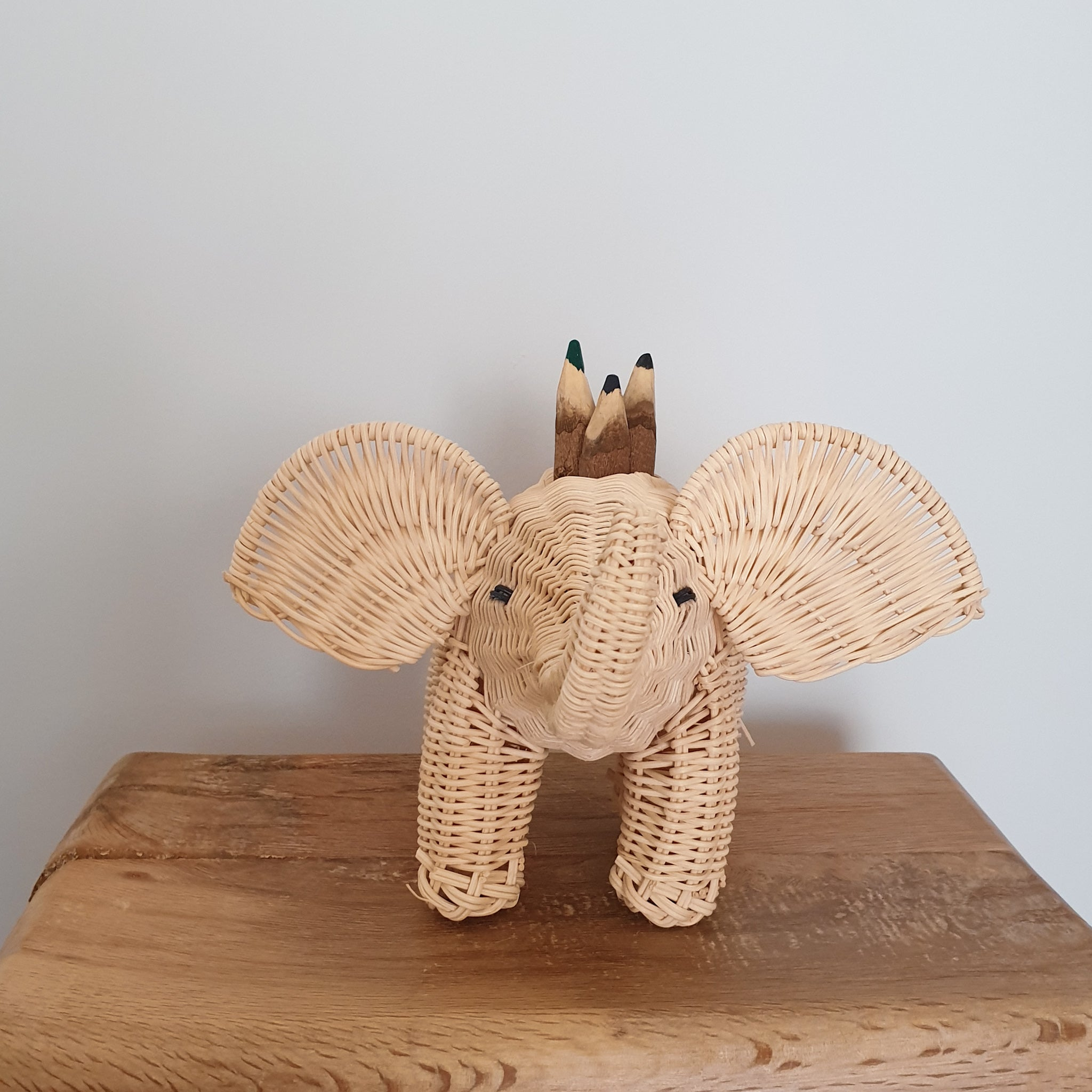 wicker elephant pencil holder