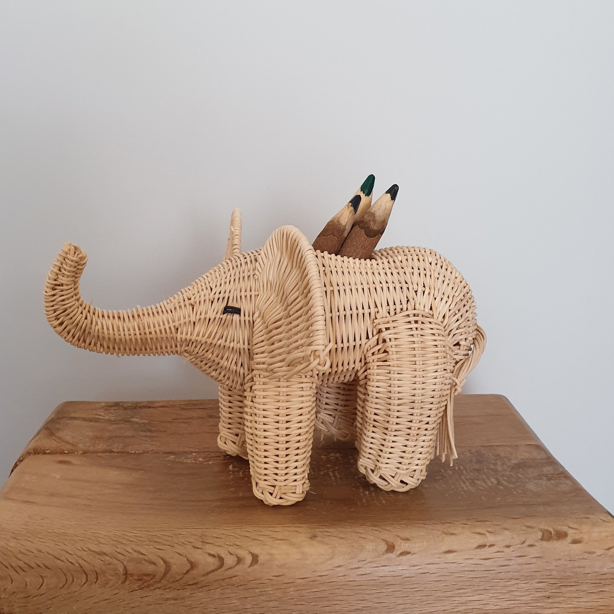 pencil holder elephant handmade in wicker