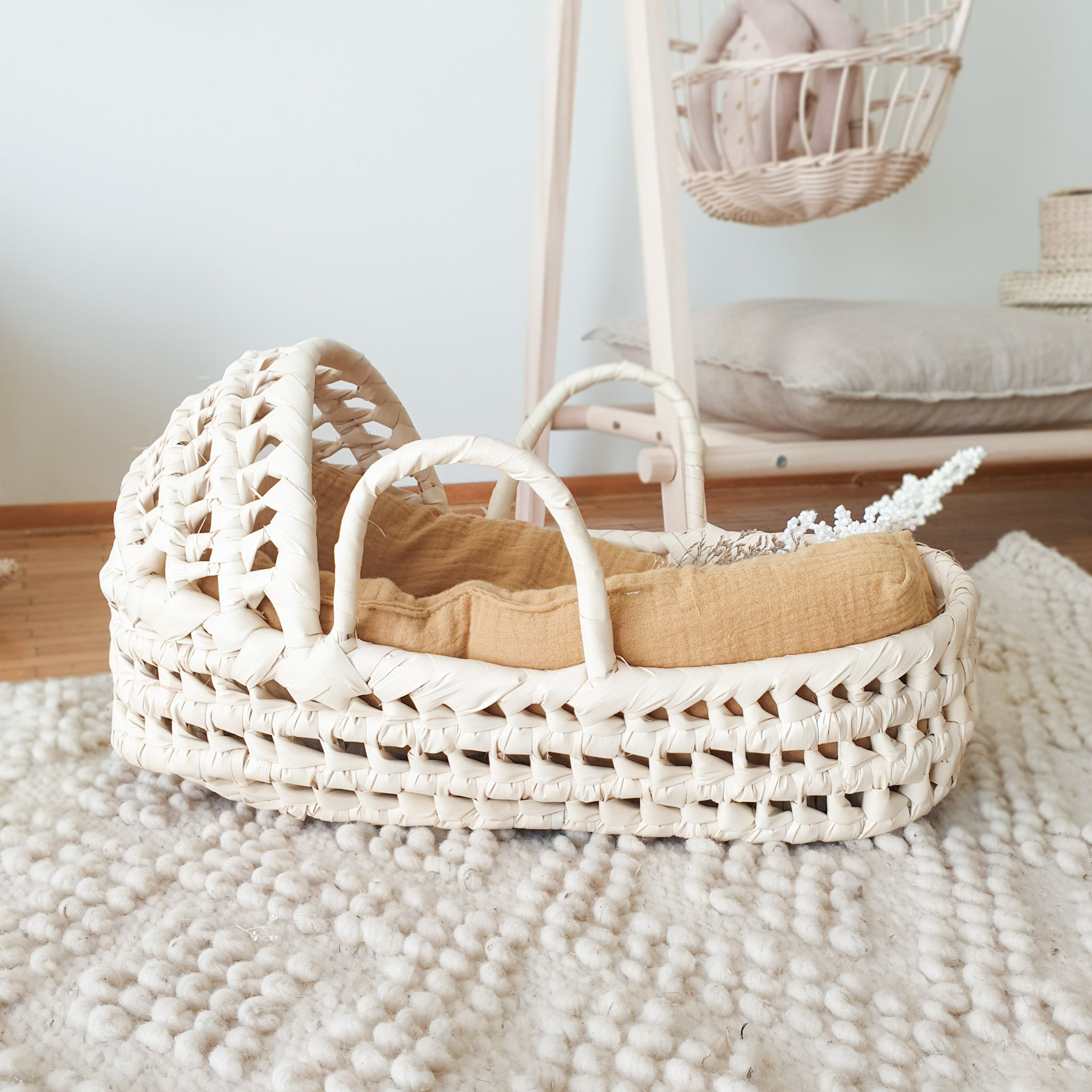 palm leaf doll bassinet