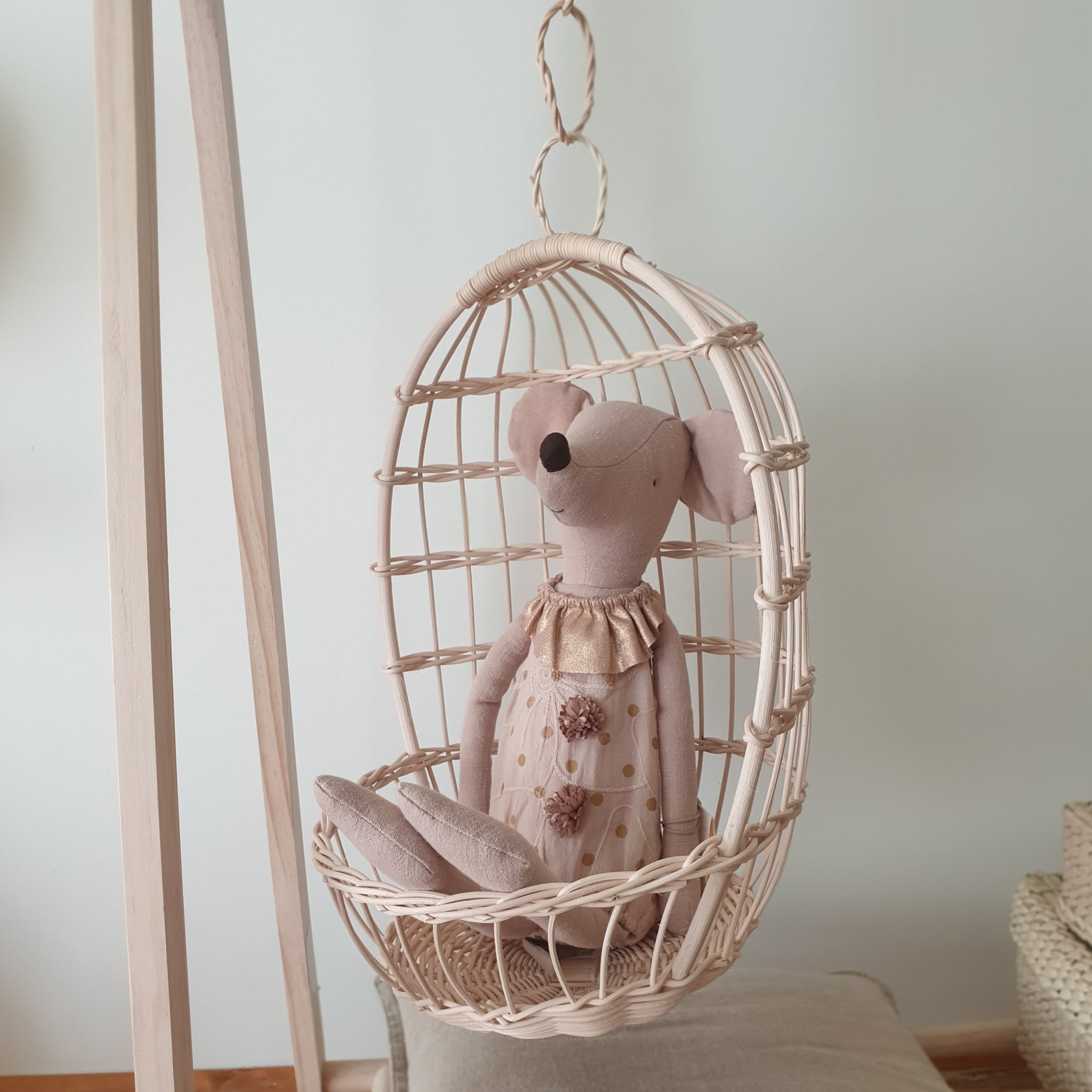 wicker doll hanging chair