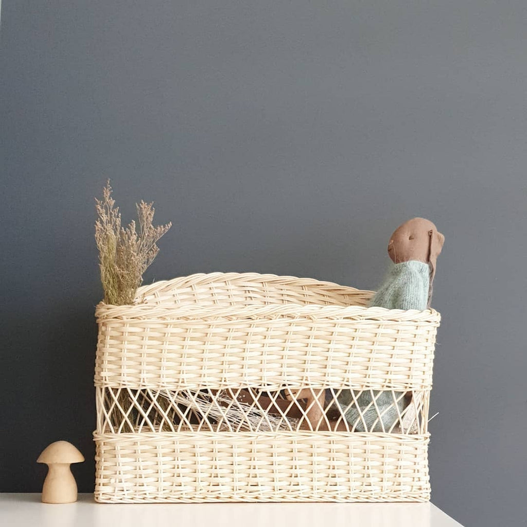 wicker book basket