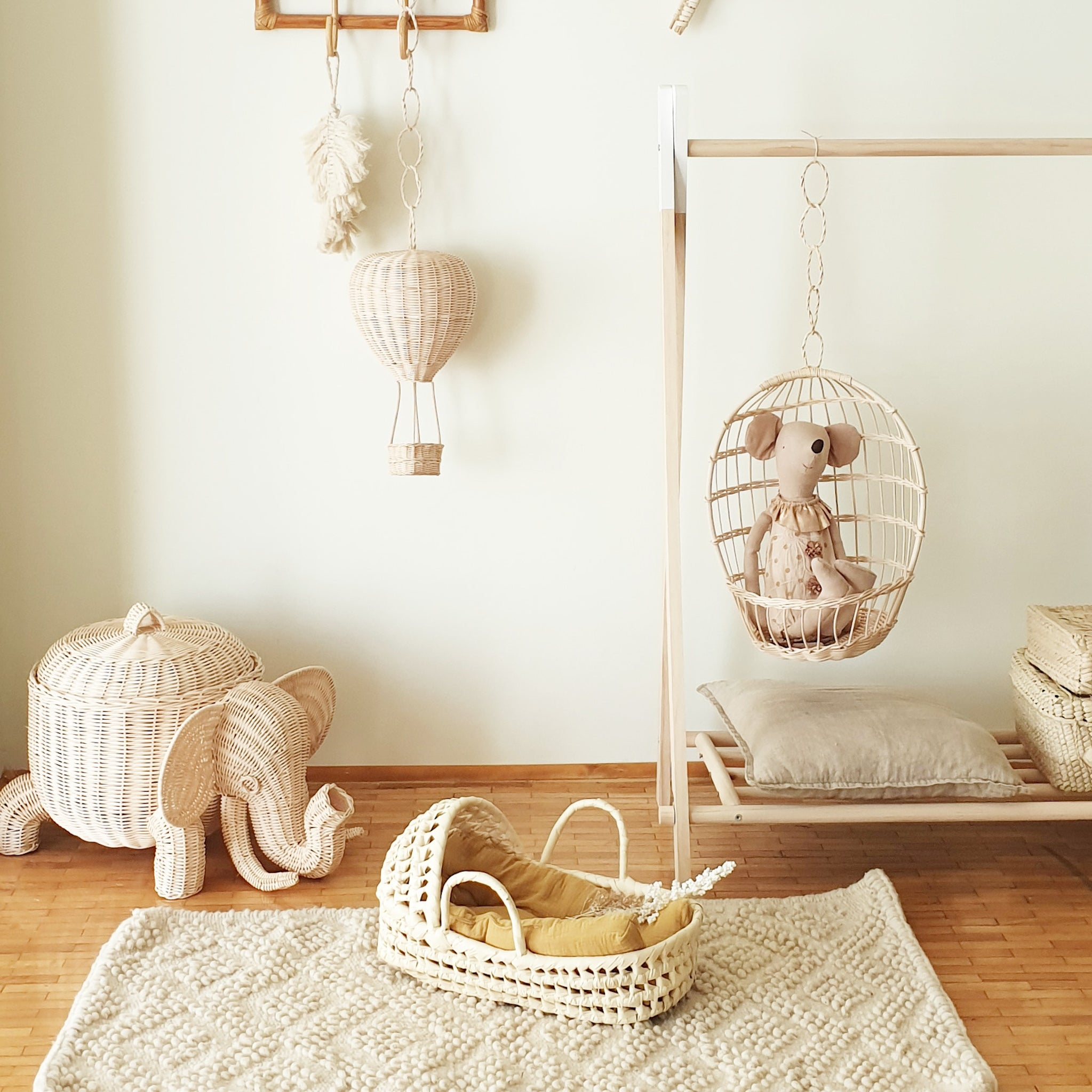 wicker and rattan kidsroom decoration