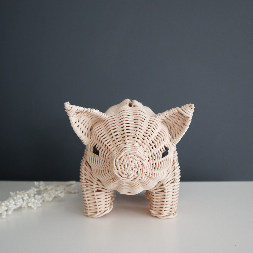 wicker money piggy bank