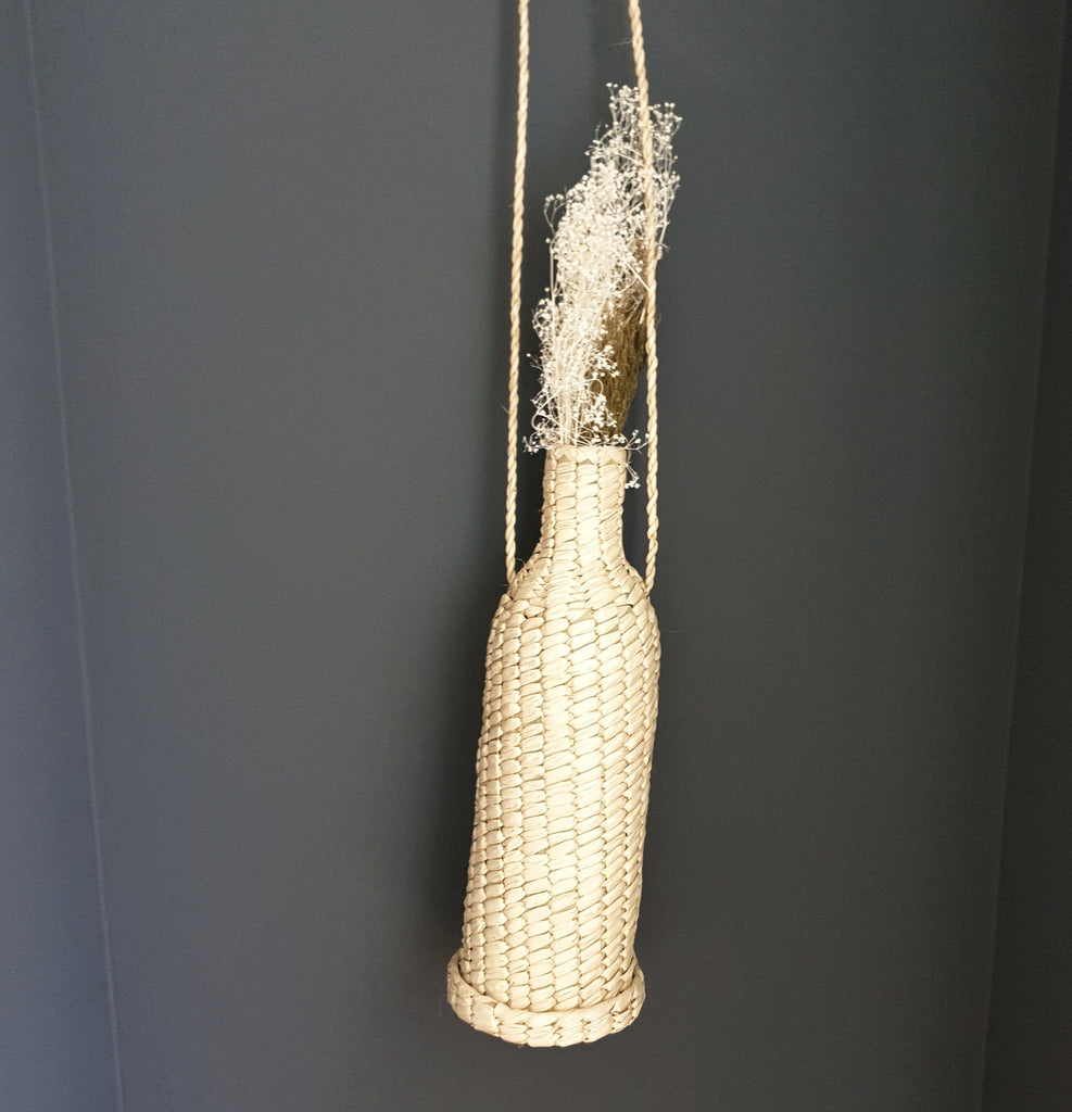 palm leaf flower pot with hanger