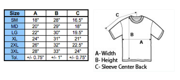 Legends Clothing Sizing Chart