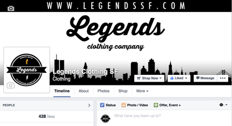Legends Clothing SF Facebook Page