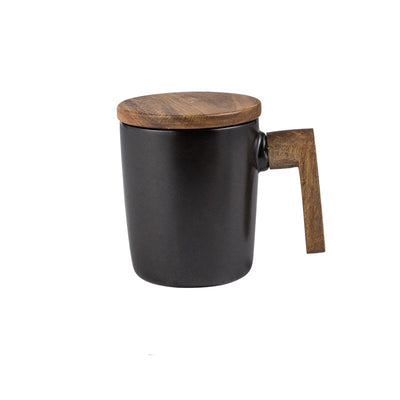 Wooden Handle & Cover Coffee Mug
