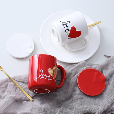 Heart Red & White Coffee Cup