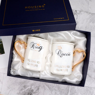 "Luxury ""King & Queen"" Coffee Mugs Set"