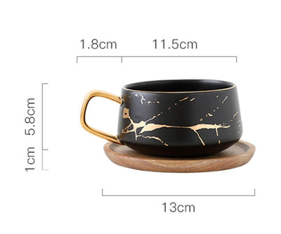 Golden Handle Marble Coffee Mug