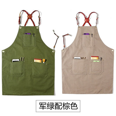 Double-Sided Canvas Leather Barista Apron