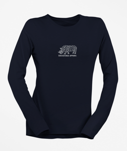 Womens Long Sleeve White Rhino Tee
