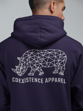 Load image into Gallery viewer, Made to Coexist Hoodie - White Rhino Back Print