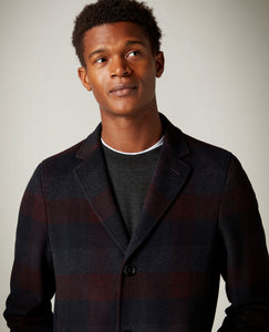 Remus Uomo - Coat - Wine/Navy Check
