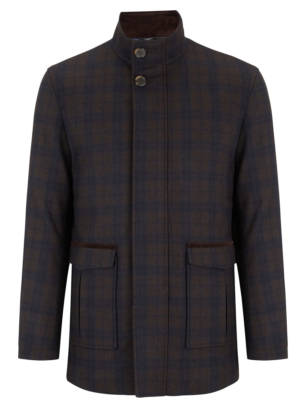 Douglas - Tailored Coat - Brown/Navy Check