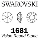 SWAROVSKI  Wholesale Vision Round Stone 1681 Crystal Silver Night - Factory Pack