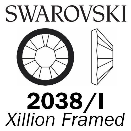SWAROVSKI  Wholesale Rhinestone Flatback HOTFIX Rimmed Xilion 2038I Jet with Light Chrome rim - Factory Pack