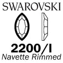 SWAROVSKI  Wholesale Rhinestone Flatback HOTFIX Rimmed Navette 2200I Jet with Light Chrome rim - Factory Pack