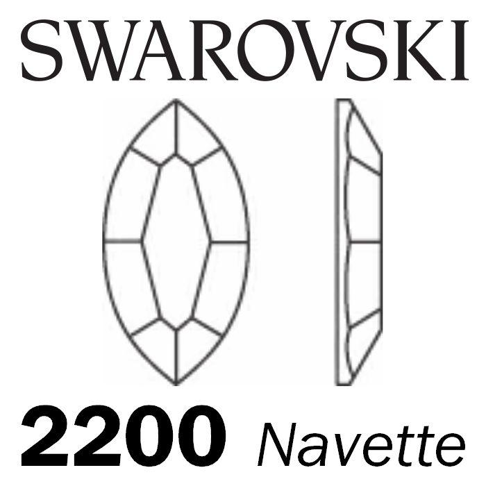 SWAROVSKI  Wholesale Rhinestone Flatback HOTFIX Navette 2200 Light Colorado Topaz - Factory Pack